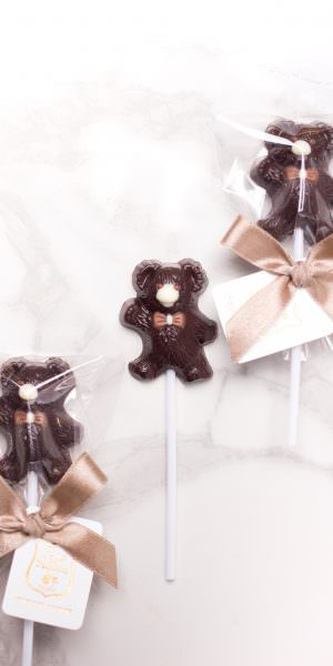 Teddy Bear - Dark chocolate lollipop