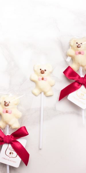 Teddy Bear - White chocolate lollipop (Pink)