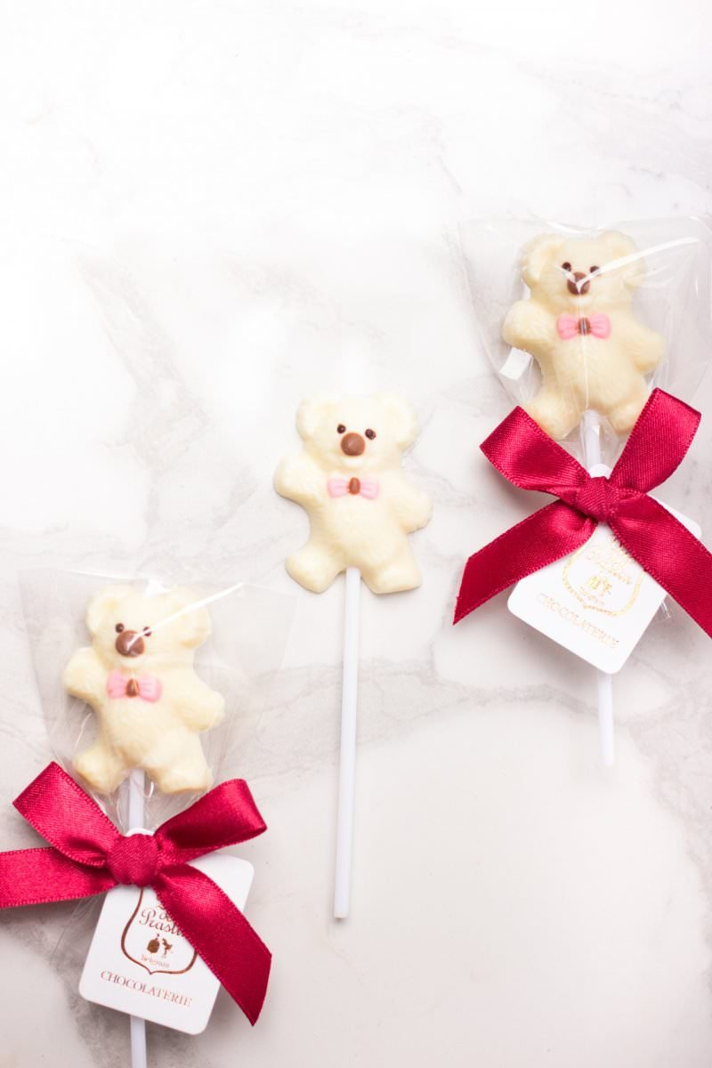 Teddy Bear - White chocolate lollipop (Pink)