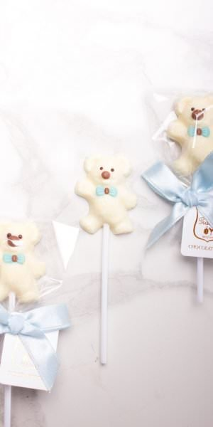 Teddy Bear White Chocolate with Blue Ribbon